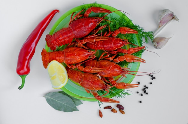 Boiled red crayfish or crawfish on a green plate with spices and red pepper
