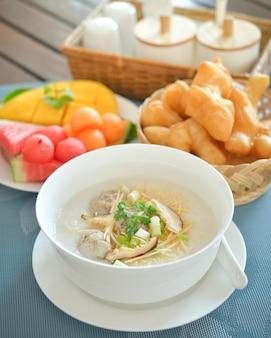 Boiled rice pork or mush for breakfast