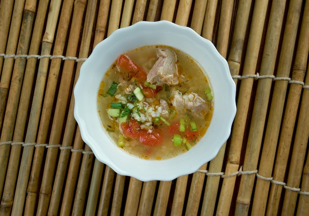 Boiled rice pork or mush for thai style