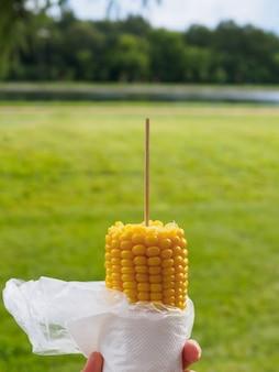 公園の景色を背景に串に刺して茹でたスイートコーンを手に