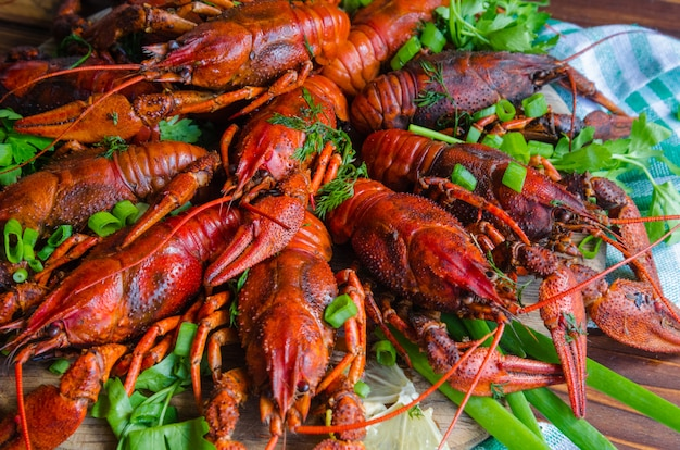 Boiled tasty river crayfish with dill and lemon