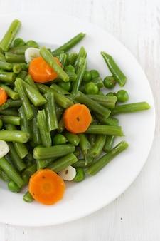 Boiled vegetables on plate