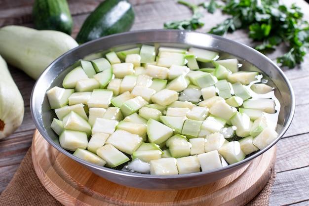 ゆで野菜、ズッキーニをザルに入れて湯通しした後、氷水に入れます。冷凍食品のコンセプト。