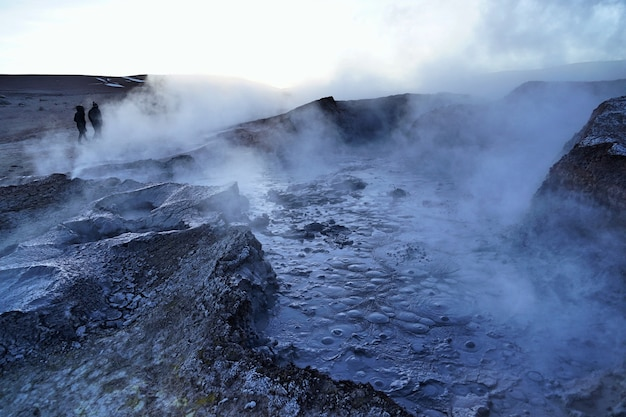 The boiling natural geysir in uyuni, bolivia.
