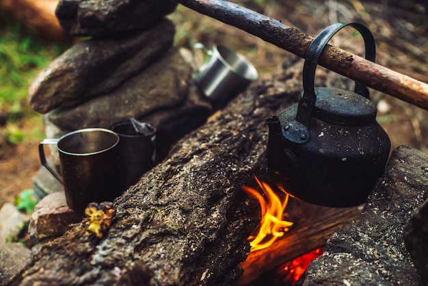 Boiling of tea in kettle on bonfire with large firewood. tea drinking in open air. active outdoor recreation. camping in dusk. romantic warm atmosphere in twilight on nature. active rest. metal mug.