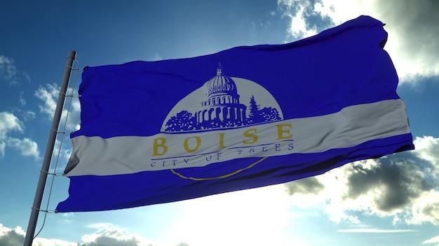 ボイジー市の旗、米国またはアメリカ合衆国のアイダホ州の都市、青い空に風に揺れています。 3dレンダリング。