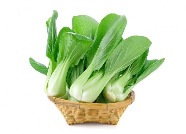 分離されたバスケットの白菜(白菜)