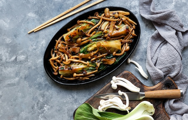 Bok choy o pak choi cabbage with shimeji mushrooms and oyster sauce