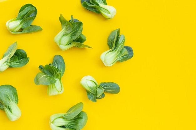Bok choy on yellow wall.