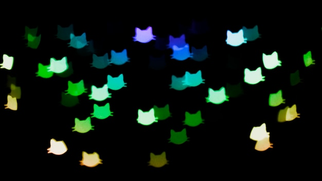 Bokeh background with lights in cat shapes