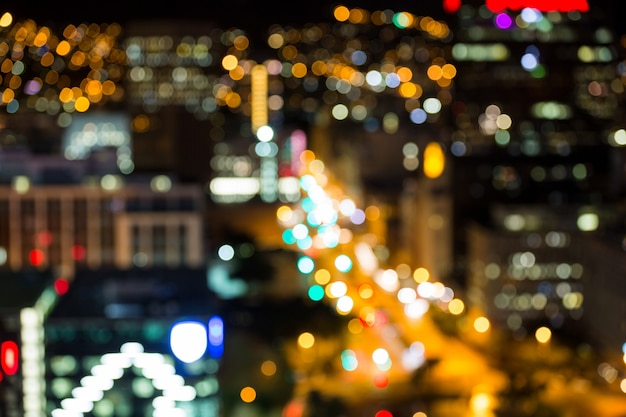 Bokeh of busy city street