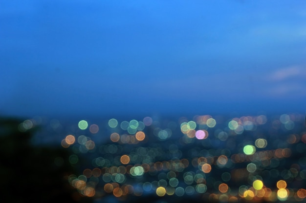 Bokeh city.blurred abstract background. and beautiful sky background.