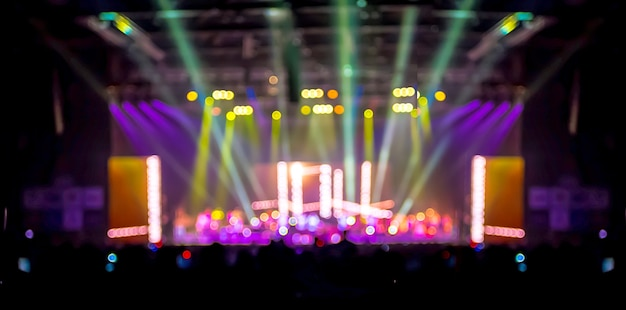 Bokeh lighting in concert with audience, music showbiz concept