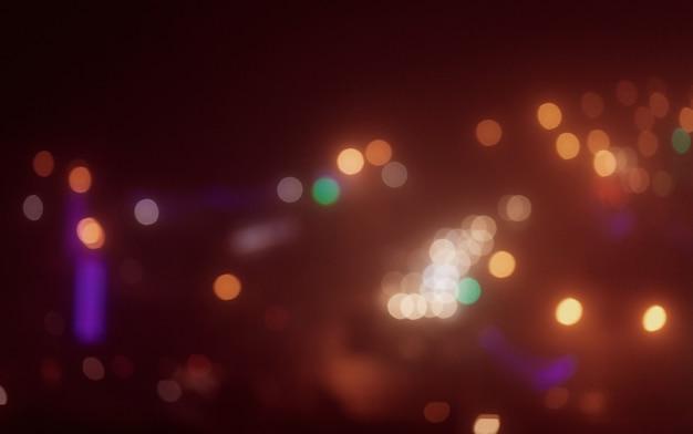 夜の色とりどりの街の明かりのボケ味。街の背景の焦点ぼけ。