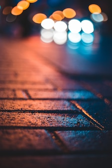 Bokeh photography of bricked surface