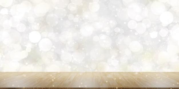 むき出しの木製の床とボケ白い背景に輝く白いボケ