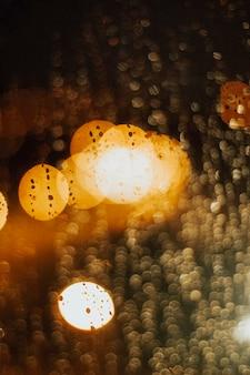 Bokeh with lights and rain