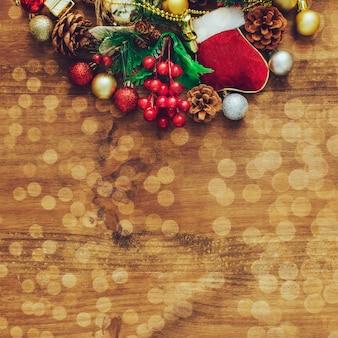 Bokehのクリスマスの背景。
