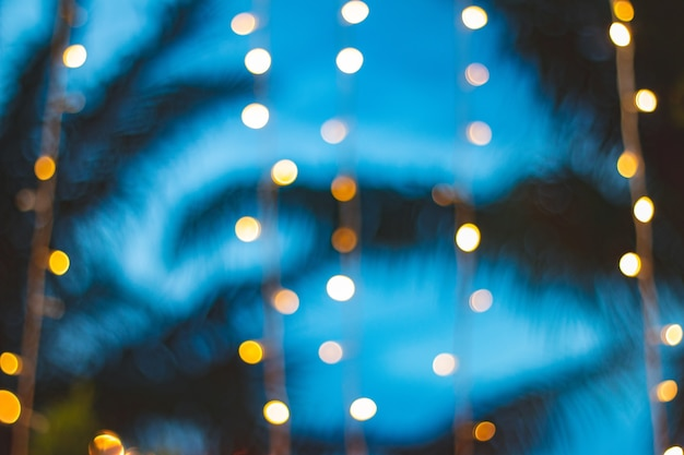日没のココヤシのヤシの木の背景とぼかしライトbokeh