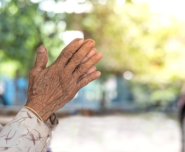 祈る概念。古い女性の手は驚くべき緑のbokehの背景で祈ります。