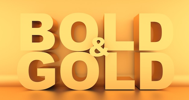 Bold and gold wording in gold color