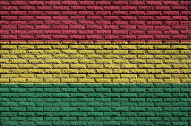 Bolivia flag is painted onto an old brick wall