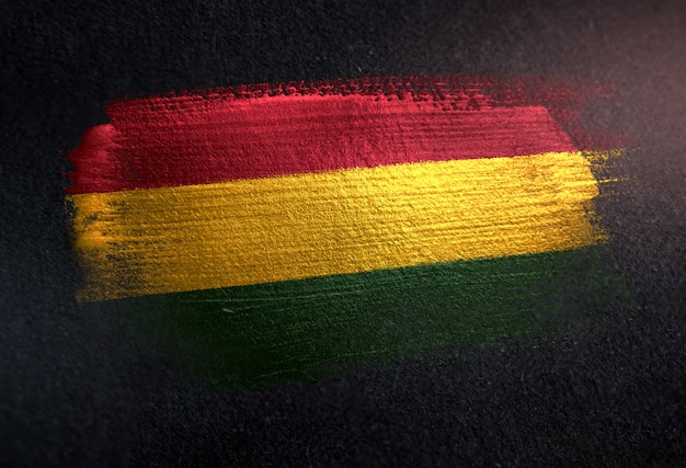 Bolivia flag made of metallic brush paint on grunge dark wall