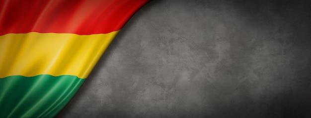 Флаг боливии на бетонной стене. горизонтальный панорамный баннер. 3d иллюстрация