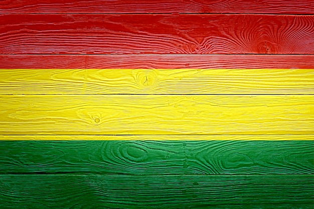 Bolivia flag painted on old wood plank background