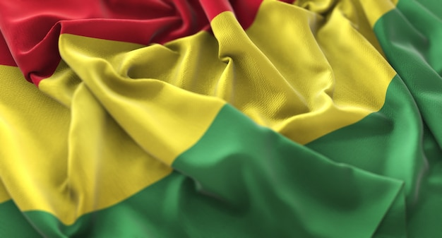 Bolivia flag ruffled beautifully waving macro close-up shot