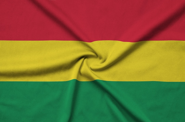 Bolivia flag with many folds.