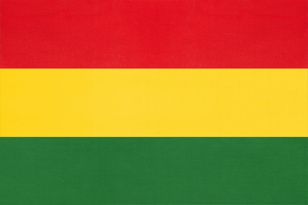 Bolivia national fabric flag textile background, symbol of world south america country ,