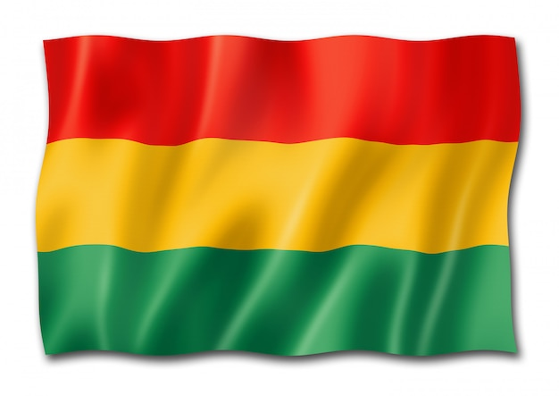 Bolivian flag isolated on white
