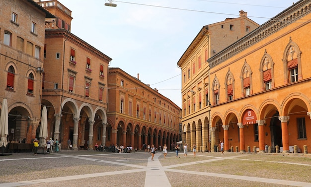 Bologna, italy - july 22, 2019: piazza santo stefano square, beautiful medieval city of bologna, italy