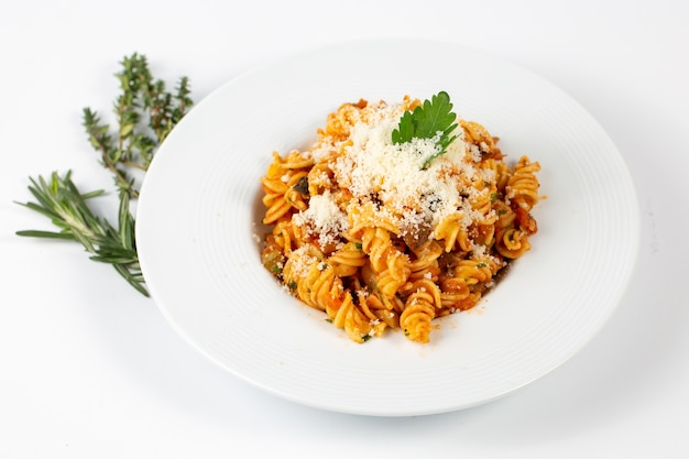 Bolognese pasta with parmesan