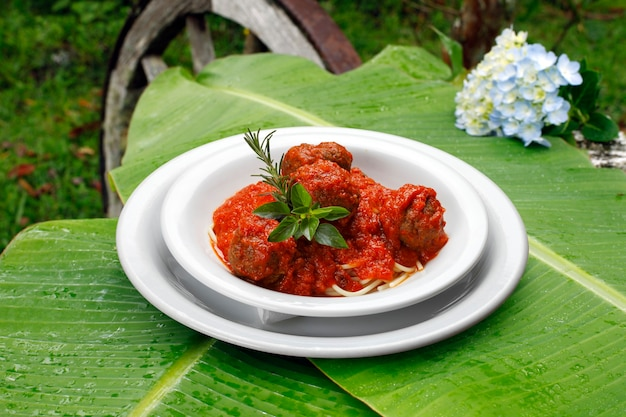 Bolognese spaghetti with meatballs