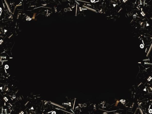 창의적인 기술 프로젝트를위한 볼트 및 나사 어두운 질감 및 구성