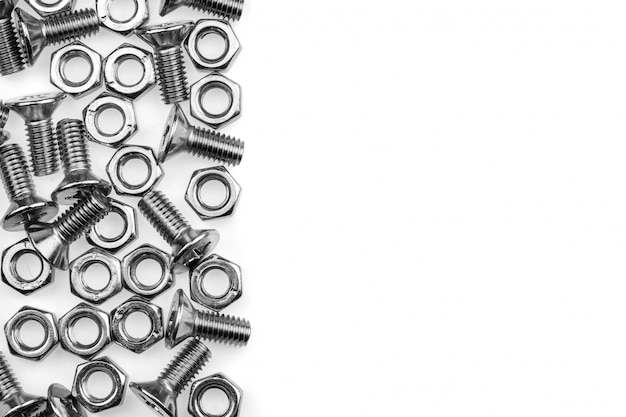 Bolts and screws isolated on white background.