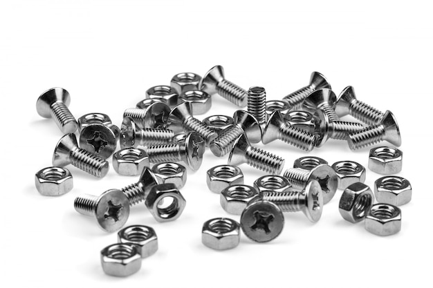 Bolts and screws isolated on white
