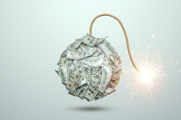 흰색 배경에 대해 불타는 심지와 돈 지폐에서 폭탄. 금융의 개념