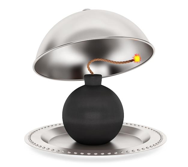 Бомба внутри серебряного ресторана cloche на белом фоне. 3d рендеринг