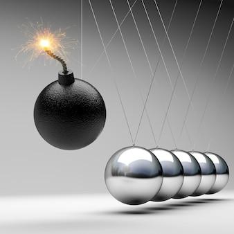 Bomb newton cradle