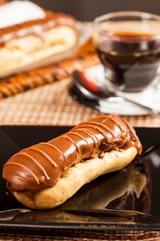 Bomba de chocolate. a brazilian traditional eclair.