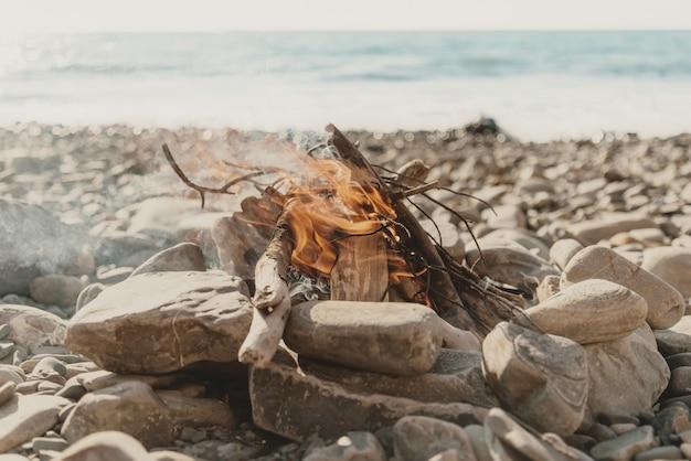 Bonfire on coast