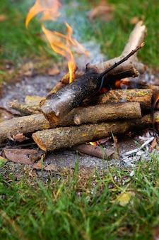 焚き火、薪の燃焼、明るいオレンジ色の火。野外レクリエーション。暖かい夏の夜。