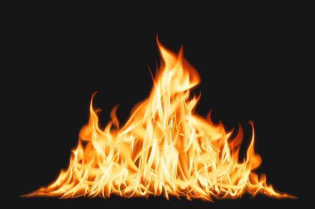Elemento fiamma falò, immagine realistica del fuoco ardente