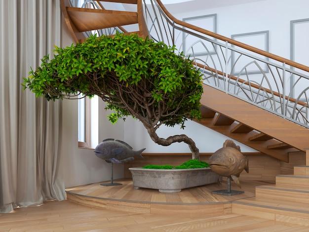 Дерево бонсай в интерьере частного дома с декоративными статуями вокруг