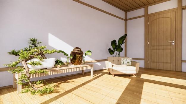 벽 방 선 스타일과 decoraion 나무 디자인, 지구 톤에 나무 캐비닛에 분재 나무.