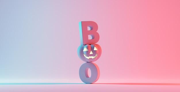 ブー!幸せなハロウィーンの日、オレンジ色の背景にカボチャのキャラクターを笑顔。