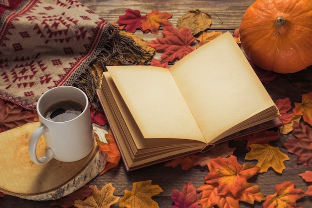 Book and blanket near drink and pumpkin